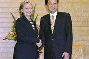 U.S. Secretary of State Hillary Clinton is welcomed by Japanese Prime Minister Yukio Hatoyama at the latter's office and official residence on May 21, 2010 in Tokyo, Japan. Clinton kicked off an Asia tour in Japan where both sides have condemned North Korea after investigators blamed it for sinking a South Korean warship.