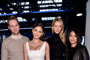 (2nd from L) Miss Universe Pia Alonzo Wurtzbach and (2nd from R) Miss USA Olivia Jordan seen during day 4 of New York Fashion Week: The Shows at XX on February 14, 2016 in New York City.