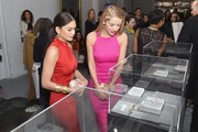 Miss USA Olivia Jordan (L) and Miss Universe Pia Wurtzbach attend the Gemfields Event at Fall 2016 New York Fashion Week at Skylight Clarkson Sq on February 14, 2016 in New York City.