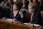Senate Intelligence Committee member Sen. Roy Blunt (R-MO) (R) questions witnesses with Sen. Susan Collins (R-ME) during a committee hearing in the Hart Senate Office Building on Capitol Hill March 21, 2018 in Washington, DC. Homeland Security Secretary Kirstjen Nielsen and former Secretary of Homeland Security Jeh Johnson faced questions from committee members about election security.