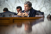 Sen. Roy Blunt (R-MO) questions retired Vice Adm. Joseph Maguire during a Senate Intelligence Committee confirmation hearing, to become the director of the National Counterterrorism Center, on Capitol Hill, on July 25, 2018 in Washington, DC.