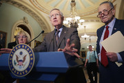 SEnate Minority Leader Harry Reid (D-NV) (C) talks with reporters with Sen. Patty Murray (D-WA) (L) and Sen. Charles Schumer (D-NY) following the weekly Senate Democratic policy luncheon at the U.S. Capitol April 12, 2016 in Washington, DC. Senate Judiciary Committee Chairman Chuck Grassley (R-IA) had breakfast with Supreme Court nominee Merrick Garland after promising earlier not to meet with him and McConnell said this does not erode his refusal to hold a vote on Garland.