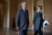 Senate Majority Leader Mitch McConnell (R-KY) walks to his office at the U.S. Capitol on February 15, 2018 in Washington, DC. The Senate is set to vote on an immigration bill despite the threat of a veto from the White House.