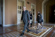 Senate Majority Leader Mitch McConnell (R-KY) walks to the Senate floor at the U.S. Capitol on February 15, 2018 in Washington, DC. The Senate is set to vote on an immigration bill despite the threat of a veto from the White House.