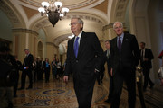 Senate Majority Leader Mitch McConnell (R-KY) arrives for a press conference with Sen. John Cornyn (R) (R-TX) at the U.S. Capitol February 27, 2018 in Washington, DC. McConnell answered a range of questions related primarily to planned gun reform legislation by the U.S. Congress.
