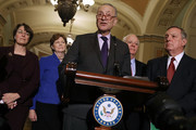 Senate Minority Leader Charles Schumer (D-NY) (C) is joined by (L-R) Sen. Amy Klobuchar (D-MN), Sen. Jeanne Shaheen (D-MO), Sen. Ben Cardin (D-MD) and  Senate Minority Whip Dick Durbin (D-IL) while talking to reporters following the weekly Democratic Policy Committee luncheon in the U.S. Capitol November 28, 2017 in Washington, DC. Citing an inflamitory Tweet by President Donald Trump, Schumer and House Minority Leader Nancy Pelosi (D-CA) cancelled their meeting with Trump and Republican congressional leaders scheduled for later in the day.