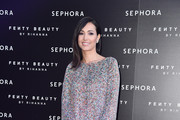 Caterina Balivo attends Sephora loves Fenty Beauty by Rihanna launch event on April 5, 2018 in Milan, Italy.