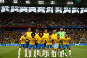 Brazil pose prior to  the 2018 FIFA World Cup Russia group E match between Serbia and Brazil at Spartak Stadium on June 27, 2018 in Moscow, Russia.