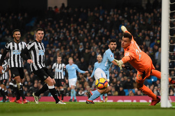 Sergio Aguero Karl Darlow Manchester City v Newcastle United - Premier League