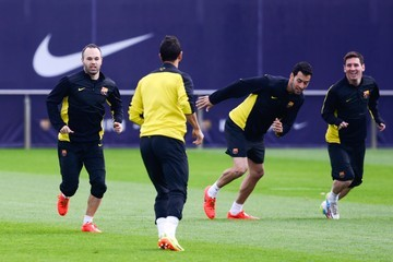 Sergio Busquets FC Barcelona Training Session