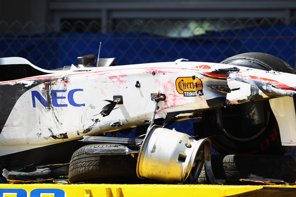 Sergio Perez The wrecked car of Sergio Perez of Mexico and Sauber F1 is seen following his crash during qualifying for the Monaco Formula One Grand Prix at the Monte Carlo Circuit on May 28, 2011 in Monte Carlo, Monaco.