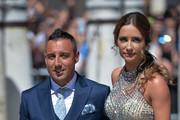 Santi Cazorla and wife Ursula Santirso attend the wedding of real Madrid football player Sergio Ramos and Tv presenter Pilar Rubio at Seville's Cathedral on June 15, 2019 in Seville, Spain.