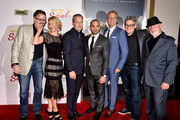 """(L-R) Show creator Vince Gilligan, actors Rhea Seehorn, Bob Odenkirk, Michael Mando, Patrick Fabian, show creator Peter Gould and actor Jonathan Banks arrive at the series premiere of AMC's """"Better Call Saul"""" at the Regal Cinemas L.A. Live on January 29, 2015 in Los Angeles, California."""