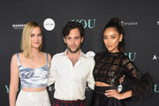 """(L-R) Elizabeth Lail, Penn Badgley and Shay Mitchell attend the """"You"""" Series Premiere Celebration hosted by Lifetime on September 6, 2018 in New York City."""