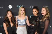 """(L-R) Nicole Kang, Elizabeth Lail, Penn Badgley, Shay Mitchell and Kathryn Gallagher attend the """"You"""" Series Premiere Celebration hosted by Lifetime on September 6, 2018 in New York City."""