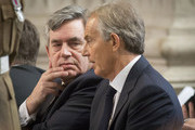 Former Prime Ministers Tony Blair and Gordon Brown attend the Afghanistan service of commemoration at St Paul's Cathedral on March 13, 2015 in London, England.