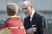 Prince Philip, Duke of Edinburgh leaves a Service of Thanksgiving for the life and work of Lord Snowdon at Westminster Abbey on April 7, 2017 in London, United Kingdom.