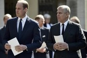 Prince William, Duke of Cambridge and Prince Andrew, Duke of York leave a Service of Thanksgiving for the life and work of Lord Snowdon at Westminster Abbey on April 7, 2017 in London, United Kingdom.