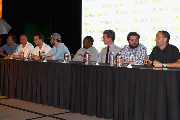 """""""The Awesomes"""" Comic-Con Autograph Signing [event,news conference,meeting,convention,public speaking,l-r,the awesomes comic-con autograph signing,judd winick,executive producers,actors,seth meyers,josh meyers,taran killam,kenan thompson,michael shoemaker]"""
