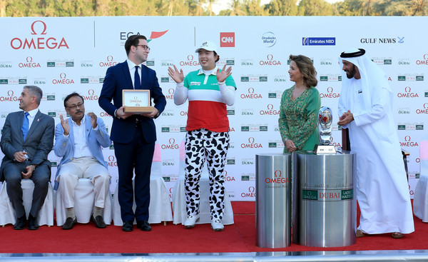 Omega Dubai Ladies Masters - Day Four [event,technology,red carpet,award,electronic device,competition,carpet,flooring,world,stage equipment,haya,shanshan feng,winners,vice-chairman,ceo,area sales manager omega,golf,dubai,china,omega dubai ladies masters]