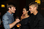 """(L-R) Actors Chris Carmack, Alyssa Diaz and Chris Zylka attend """"Shark Night"""" screening after party at Universal CityWalk on September 1, 2011 in Universal City, California."""