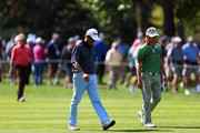 Stephen Ames of Canada and Bernhard Langer of Germany chat as they walk up the 6th fairway during the first round of the Shaw Charity Classic at the Canyon Meadows Golf and Country Club on August 31, 2018 in Calgary, Canada.
