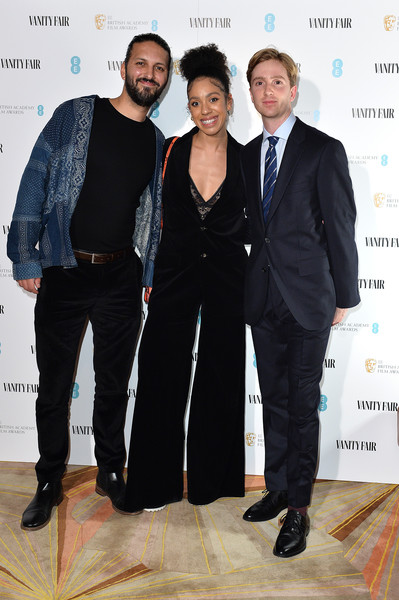 Vanity Fair EE Rising Star BAFTAs Pre Party - Red Carpet Arrivals [suit,fashion,event,formal wear,white-collar worker,fashion design,tuxedo,premiere,award,pantsuit,red carpet arrivals,luke newberry,pearl mackie,shazad latif,l-r,london,rising star baftas pre party,vanity fair,ee,the standard,shazad latif,luke newberry,pearl mackie,bafta rising star award,photography,odeon luxe leicester square,royal academy of arts,british academy of film and television arts,getty images]