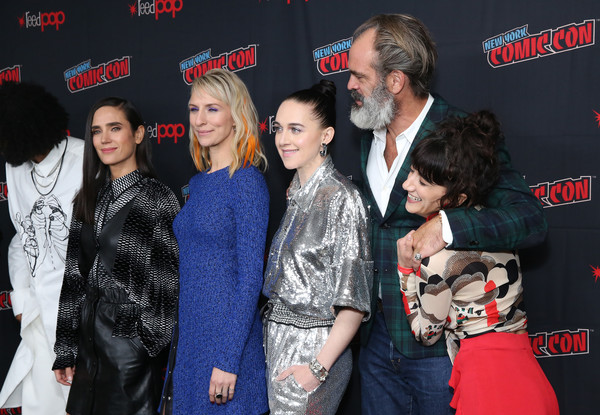 'Snowpiercer' At New York Comic Con 2019 [snowpiercer,premiere,event,fashion,carpet,performance,flooring,fur,steven ogg,lena hall,jennifer connelly,mickey sumner,sheila vand,press line,l-r,hammerstein ballroom,new york comic con]