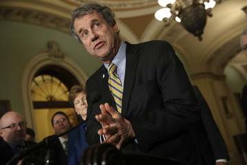 Sherrod Brown Senate Lawmakers Speak to the Media After Their Weekly Policy Luncheons