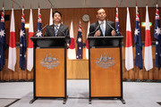 Japanese Prime Minister Shinzo Abe addresses the Australian Government in the House of Representatives with Australian Prime Minister Tony Abbott at Parliament House on July 8, 2014 in Canberra, Australia. Prime Minister is in Australia for three days and will sign a Economic Partnership Agreement with Australia. Japan is Australia's second biggest trading partner.