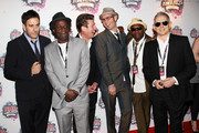 (UK TABLOID NEWSPAPERS OUT) L-R Terry Hall, Neville Staple, Roddy Byers, John Bradbury, Lynval Golding and Nik Torp of The Specials arrive at the Shockwaves NME Awards 2010 held at Brixton Academy on February 24, 2010 in London, England.