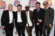 (UK TABLOID NEWSPAPERS OUT) Terry Hall, Neville Staple, Roddy Byers, John Bradbury and Lynval Golding of The Specials arrive at the Shockwaves NME Awards 2010 held at Brixton Academy on February 24, 2010 in London, England.