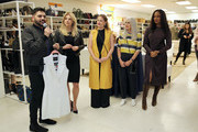 """(L-R) Co-Hosts Michael Costello, Katheryn Winnick, Dress for Success Worldwide-West, Director Lesley Brillhart, Event Chair Dress for Success Worldwide-West Susan Leibsohn, and Co-Host Garcelle Beauvais welcome guests during """"Shop for Success"""": Dress for Success West Coast (LA) fundraiser on November 29, 2018 in Los Angeles, California."""