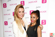 Wallis Day (l) and guest attend the Shopcade London Fashion Week Party on September 14, 2014 in London, England.