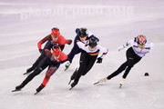 Bianca Walter of Germany, Veronique Pierron of France, Marianne St Gelais of Canada, Alang Kim of Korea and Kim Boutin of Canada compete during the Short Track Speed Skating - Ladies' 1,000m Quarterfinal 1 on day thirteen of the PyeongChang 2018 Winter Olympic Games at Gangneung Ice Arena on February 22, 2018 in Gangneung, South Korea.