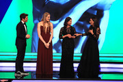 Host James Marsden on stage with the New Laureus Academy Members Missy Franklin,Lorena Ochoa and Luciana Aymar during the 2019 Laureus World Sports Awards on February 18, 2019 in Monaco, Monaco.
