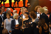 Center (L-R) Paola Felix, 'Livetime Achievement' award winner Liselotte Pulver, 'Actress International' award winner Penelope Cruz, Sophia Loren and Thomas Gottschalk are seen on stage at the end of the 70th Bambi Awards show at Stage Theater on November 16, 2018 in Berlin, Germany.