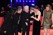 "(L-R) Giada Colagrande, Willem Dafoe, director Abel Ferrara, Anna Ferrara, Cristina Chiriac and Dounia Sichov pose at the ""Siberia"" premiere during the 70th Berlinale International Film Festival Berlin at Berlinale Palace on February 24, 2020 in Berlin, Germany."