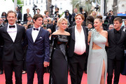 """(L-R) Paul Hamy, Niels Schneider, Virginie Efira, Justine Triet, Adele Exarchopoulos and Gaspard Ulliel attend the screening of """"Sibyl"""" during the 72nd annual Cannes Film Festival on May 24, 2019 in Cannes, France."""