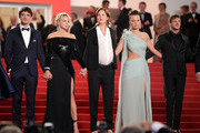 """(L-R) Niels Schneider, Virginie Efira, Justine Triet, Adele Exarchopoulos and Gaspard Ulliel depart the screening of """"Sibyl"""" during the 72nd annual Cannes Film Festival on May 24, 2019 in Cannes, France."""