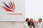 HRH Prince Andrew (R), The Duke of York speaks with Damon Hill (L) and Tony Jardine (C) during the launch of the new Grand Prix circuit at Silverstone on April 29, 2010 in Northampton, England.