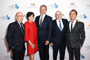 Jeffrey Katzenberg, Marilyn Katzenberg, Bob Iger, Rabbi Marvin Hier and Brian Grazer attend Simon Wiesenthal Center's 2019 National Tribute Dinner at The Beverly Hilton Hotel on April 10, 2019 in Beverly Hills, California.