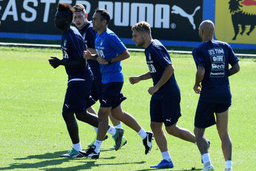 Simone Zaza Andrea Belotti Italy Training Session And Press Conference