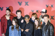 (L-R front row): Yvonne Catterfeld,  Xavier Naidoo, Christina Stuermer, Hartmut Engler and (L-R second row): Andreas Bourani, Sebastian Krumbiegel, Tobias Kuenzel and Daniel Wirtz attend a photocall for the TV show 'Sing meinen Song' on February 23, 2015 in Berlin, Germany.