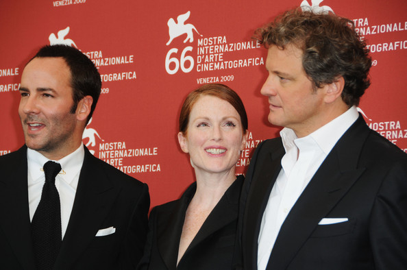 "Director Tom Ford, actors Julianne Moore and Colin Firth attend the ""A Single Man"" photocall at the Palazzo del Casino during the 66th Venice Film Festival on September 11, 2009 in Venice, Italy."