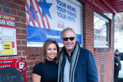 Co-Owner Amanda Wihby and Actor Kevin Costner attend the SiriusXM Broadcast at the 2020 New Hampshire Democratic Primary Live From Iconic Red Arrow Diner - Day 2 on February 11, 2020 in Manchester, New Hampshire.