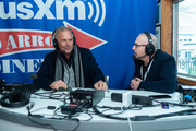 Actor Kevin Costner (L) and SiriusXM Host Michelangelo Signorile attend the SiriusXM Broadcast at the 2020 New Hampshire Democratic Primary Live From Iconic Red Arrow Diner - Day 2 on February 11, 2020 in Manchester, New Hampshire.
