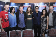 Radio personalities Dalton Ross and Jessica Shaw and actors Robert Patrick, Katharine McPhee, Elyes Gabel, Jadyn Wong and Eddie Kaye Thomas attend SiriusXM's Entertainment Weekly Radio Channel Broadcasts From Comic-Con 2015 at Hard Rock Hotel San Diego on July 9, 2015 in San Diego, California.