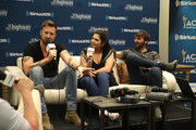 Charles Kelley, Hillary Scott and Dave Haywood of Lady Antebellum speak at the SiriusXM's The Highway broadcast backstage leading up to Academy of Country Music Awards at MGM Grand Garden Arena on April 6, 2019 in Las Vegas, Nevada.