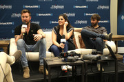 (L-R) Charles Kelley, Hillary Scott, and Dave Haywood of Lady Antebellum speak at  SiriusXM's The Highway broadcast backstage leading up to Academy of Country Music Awards at MGM Grand Garden Arena on April 6, 2019 in Las Vegas, Nevada.